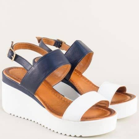 Кожени дамски сандали на платформа в синьо и бяло 2348sb
