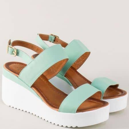 Зелени дамски сандали на платформа с кожена стелка 2348z