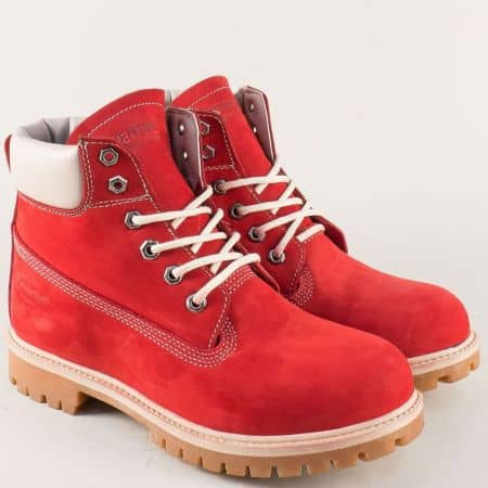 Червени мъжки боти с грайфер от естествен набук 23nchv