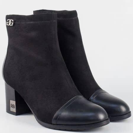 Модерни дамски боти в класически черен цвят на висок ток 24024vch