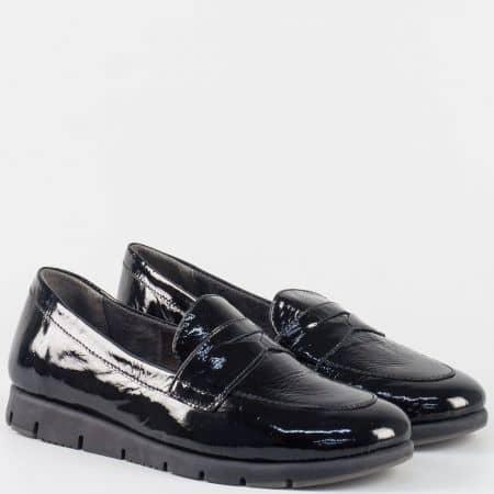 Лачени дамски мокасини с кожена стелка- Aerosoles в черен цвят 240816lch