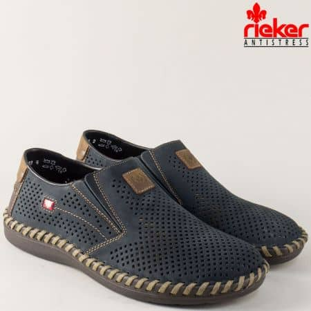 Сини мъжки обувки от перфориран естествен набук- Rieker 2455ns