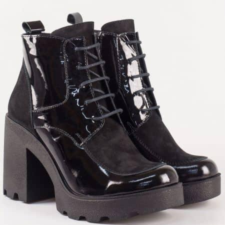 Дамски черни боти от естествен велур и лак на висок ток с грайфер 24591lch