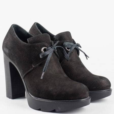 Дамски ежедневни обувки от 100% естествени материали на утвърден български производител в черен цвят 24696vch