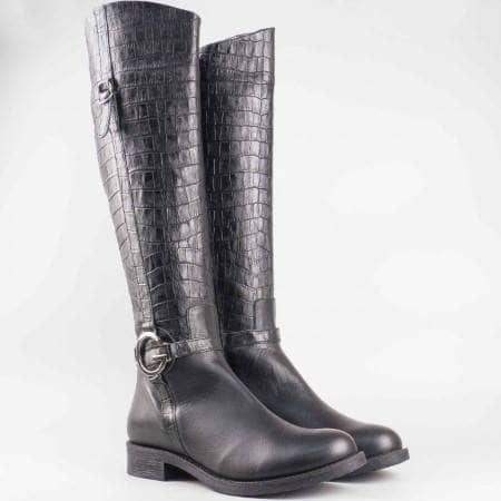Дамски атрактивни ботуши изработени от висококачествена естествена кожа на български производител в черен цвят 2474kch