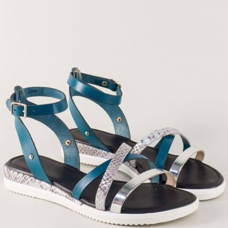 Дамски сандали в синьо и сребро от естествена кожа 250417ps