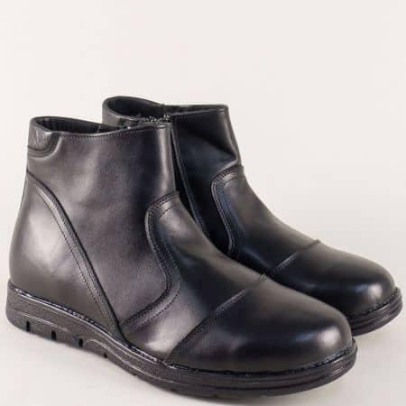 Кожени мъжки боти в черен цвят на грайферно ходило 2521606ch