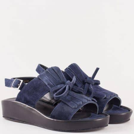 Дамски семпли сандали изработени изцяло от естествени материали - велур и кожа в тъмно синьо  25608vs
