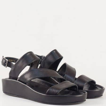 Черни дамски сандали с кожена стелка на платформа от естествена кожа с катарама 25614ch