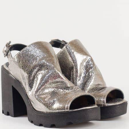 Сребърни дамски сандали на висок ток и грайферна платформа в предната част от естествена кожа изцяло 25667sr