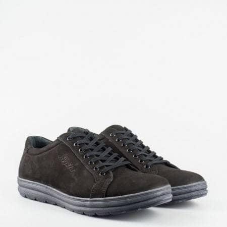 Изключително удобни мъжки обувки  с гъвкаво и комфортно ходило , изработени в черен цвят 2580nch