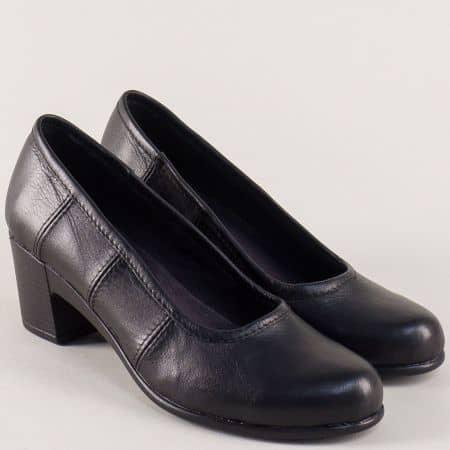 Български дамски обувки от черна естественакожа на ток 2587124ch