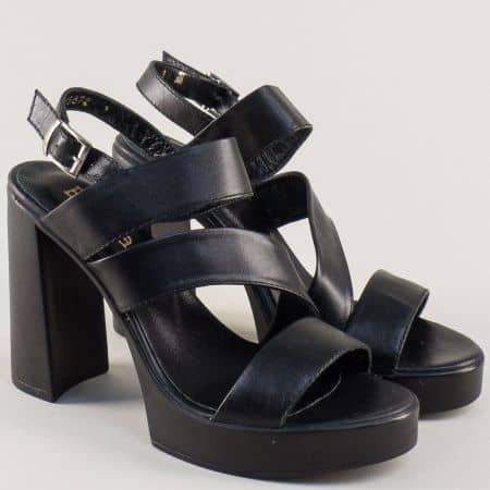 Черни дамски сандали със стелка от естествена кожа 25872ch