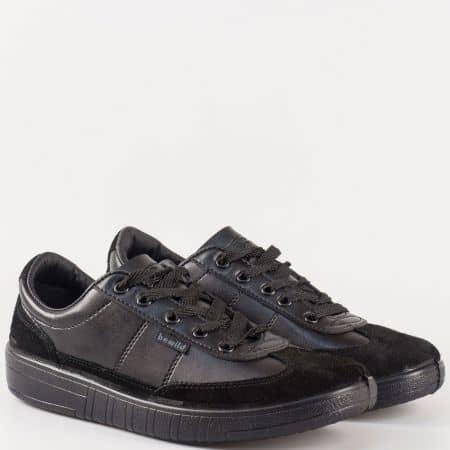 Черни мъжки спортни обувки от естествен велур и еко кожа 260816ch