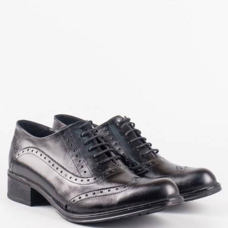 Дамски ежедневни обувки с връзки и перфо мотив от естествена кожа на българ 26102ch