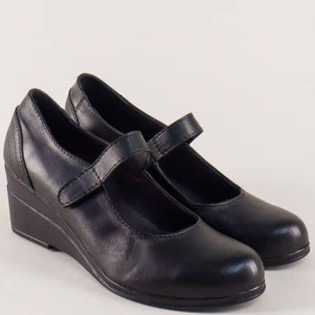 Дамски обувки на клин ходило с лепка в черен цвят 2617192ch