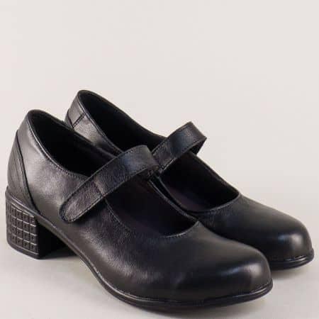 Кожени дамски обувки на среден ток в черен цвят 2617251ch