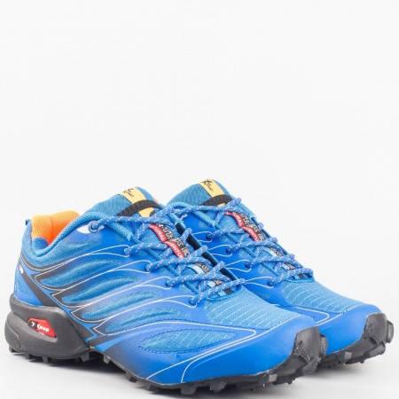 Дамски маратонки за спорт на грайферно ходило в син цвят 263915-40s