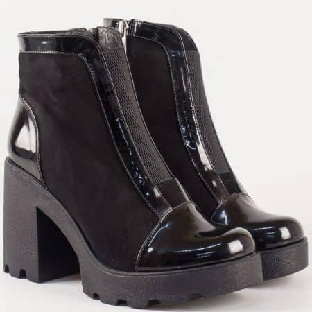 Дамски модерни боти с грайфер от естествен набук и лак в черен цвят 26506lch