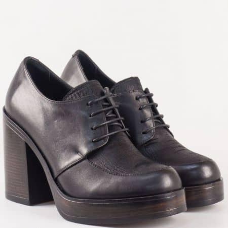 Черни дамски обувки с връзки на висок ток, изцяло от естествена кожа  26515ch