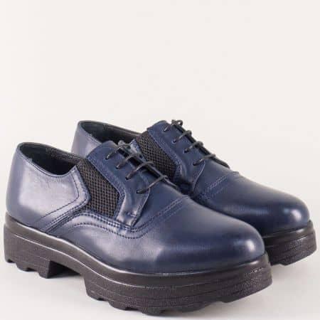 Сини дамски обувки от естествена кожа с връзки на платформа 26575s