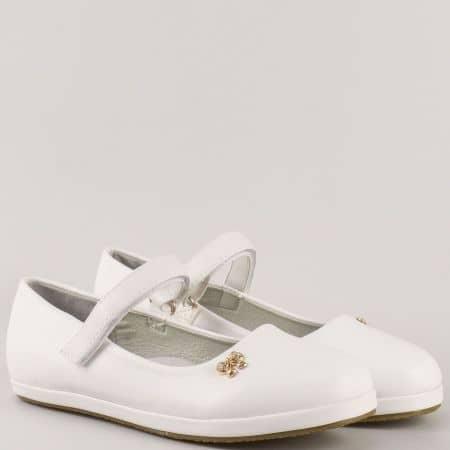 Бели детски обувки с кожена ортопедична стелка и лепка- Athletic 2667b