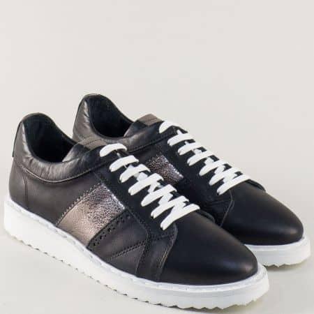 Кожени дамски обувки на платформа в черно и сребро 27008ch