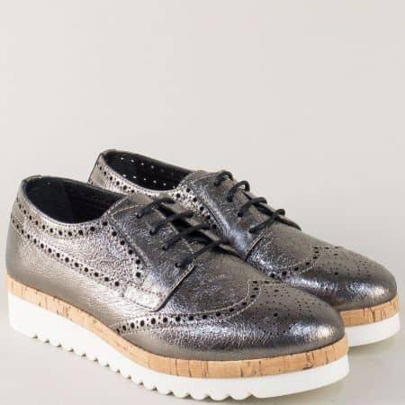 Бронзови дамски обувки на платформа от естествена кожа 27047brz