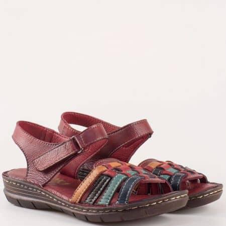 Равни дамски сандали с лепка на шито ходило от естествена кожа в цвят бордо 27078bd