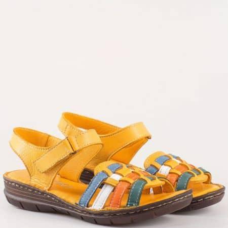 Шити дамски сандали с лепка  изцяло от естествена кожа в оранж 27078o