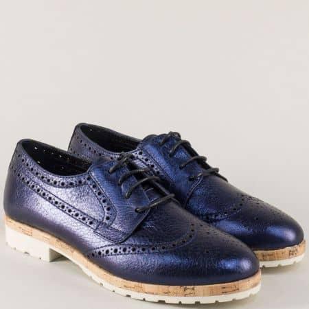 Кожени дамски обувки в син цвят с връзки и нисък ток  27090s