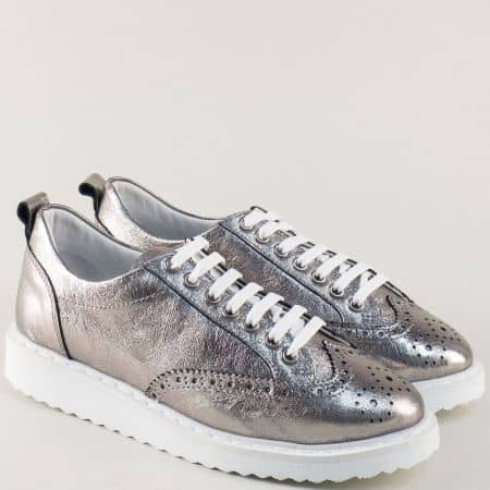 Сребристи дамски обувки със стелка от естествена кожа 27098brz