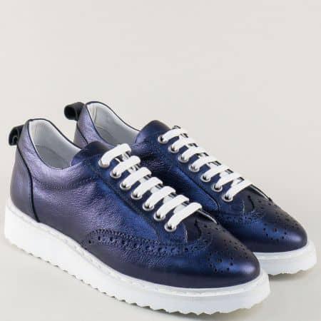 Сини дамски обувки на платформа от естествена кожа 27098s