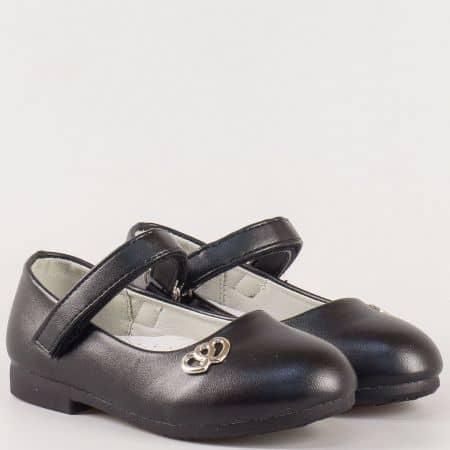 Черни детски обувки на нисък ток с кожена ортопедична стелка и практична лепка- Athletic  2725ch