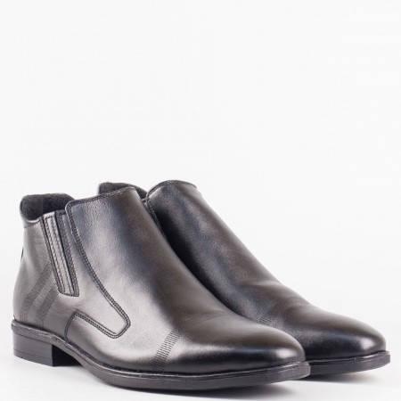 Стилни мъжки боти изработени от висококачествена естествена кожа в черен цвят 279ch