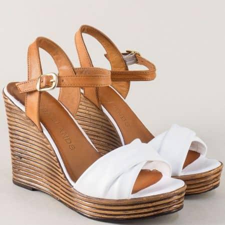 Кожени дамски сандали на платформа в кафяво и бяло 2812143bk
