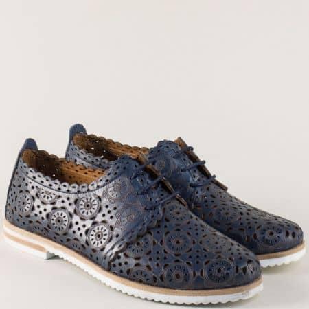 Тъмно сини дамски обувки с перфорация на равно ходило 285s