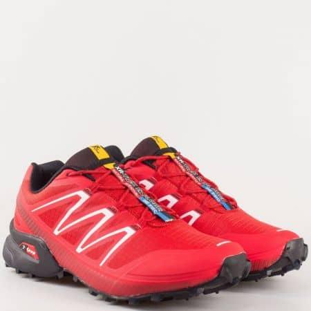 Червен мъжки маратонки на комфортно ходило с връзки 2915chv