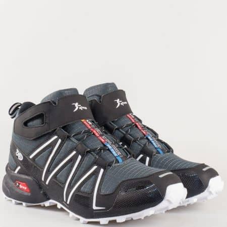 Мъжки спортни обувки Knup в черно на равно ходило 29197ch