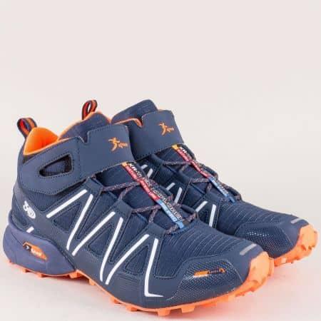 Спортни мъжки обувки в син и цвят оранж на комфортно ходило 29197so
