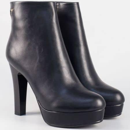 Стилни дамски боти на висок ток и платформа- Eliza в черен цвят 2919ch