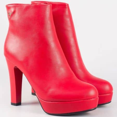 Атрактивни дамски боти на висок ток- Eliza в ярко червен цвят 2919chv