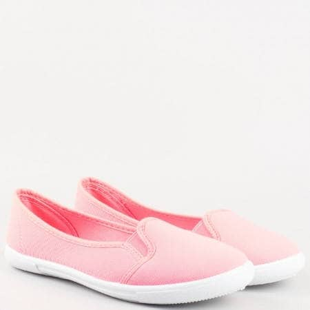 Дамски цветни балерини със спорно-елегантна визия на бяло ходило в розов цвят 29230ck
