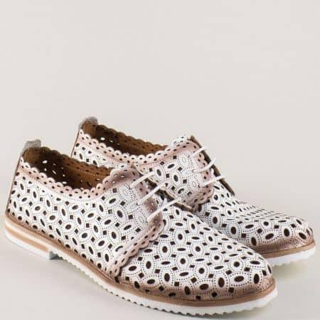 Перфорирани дамски обувки от естествена кожа в бяло 295b