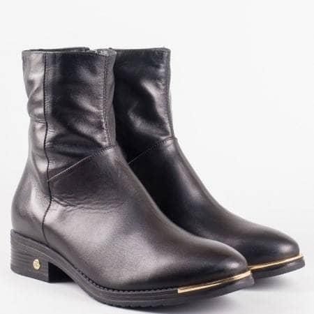 Български стилни боти от естествена кожа на български производител в черен цвят 296ch