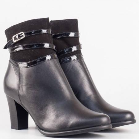 Дамски атрактивни боти изработени от висококачествена кожа и велур на български производител в черен цвят 298071ch