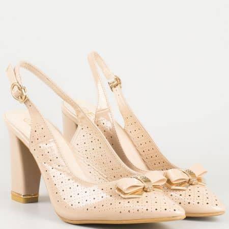 Бежови дамски обувки на висок ток с панделка 30069645bj