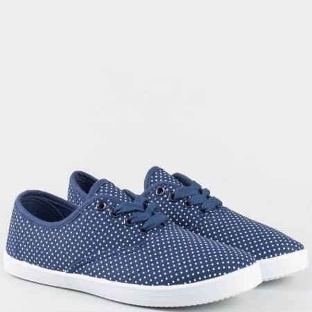 Дамски текстилни обувки на точки в син цвят- Grand Attack с връзки 30104-40s
