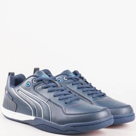Мъжки маратонки от еко кожа в син цвят 30105-45s