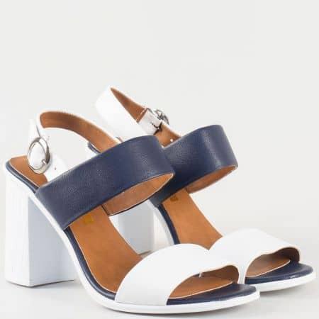 Дамски семпли сандали на висок ток изработени от висококачествена естествена и еко кожа в синьо и бяло 3011216bs